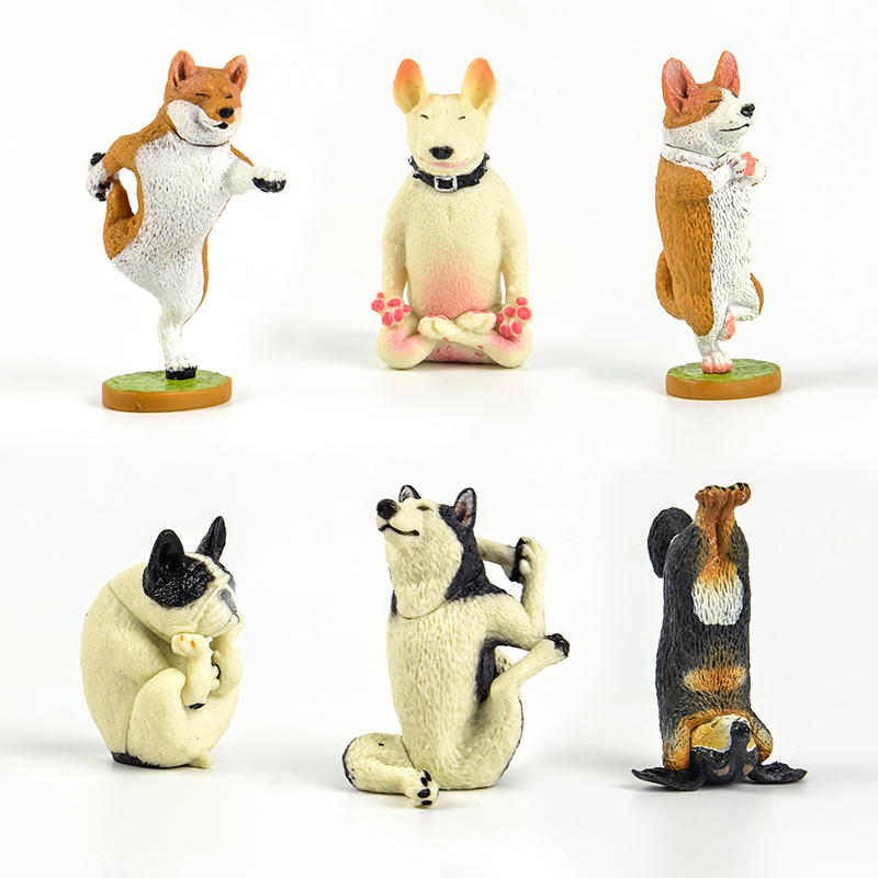 Japan Capsule Toys Cute Animal Life Pet Funny Yoga Dog Shiba Inu Corgi Husky French Bulldog Bull Terrier Stretching Figures
