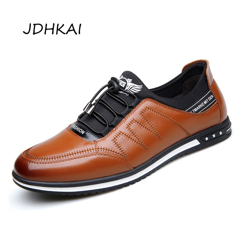 2019 Fashion Cow Genuine Leather Shoes Men Casual Slip on Driving Runing Men Loafer Black Luxury Men's Shoes Sneakers Moccasins-in Men's Casual Shoes from Shoes