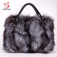 women's bags with natural fur, messenger bags made of genuine silver fox fur, women's handbags made of natural fur, envelope bag(China)