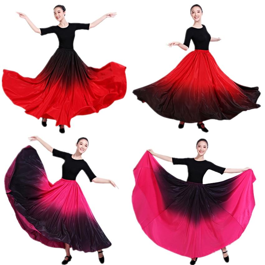 Dance Costume Spanish Gradient Elegant Flamenco Skirt Dress for Women Gypsy Plus Size Ballroom Bullfight Performance Clothing