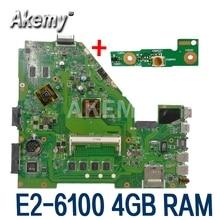 X550EP เมนบอร์ด E2 6100 CPU 4GB RAM สำหรับ For Asus X550E X550EP X550E D552E X552E แล็ปท็อป X550EP Mainboard Test 100% OK