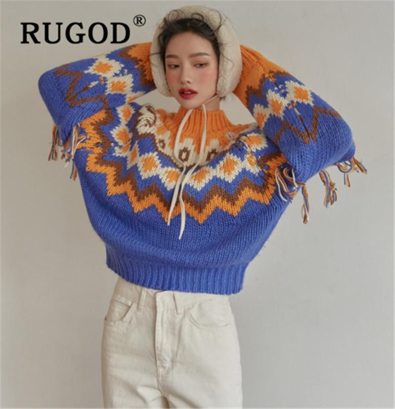 RUGOD Chic Knitted Patchwork Sweater Women Korean Lantern Sleeve Folk-custom Pullovers Female Fashion Auturm Warm Sweater Coat