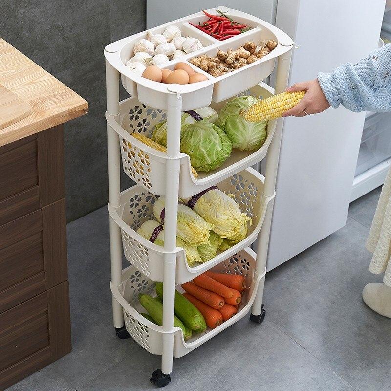 Kitchen Vegetable Shelf Landing Multi-layer Fruit Basket Vegetable Basket Seasoning Toy Storage Rack Stroller Mobile With Wheels