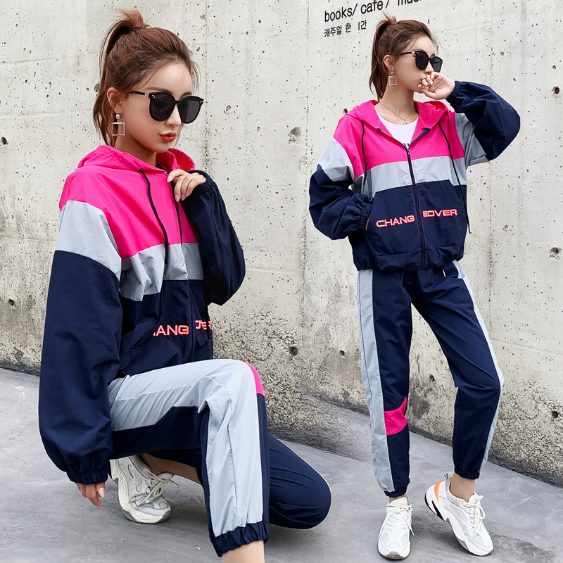 New Hooded Sportswear Two Piece Sets Womens Outfits 3 Color Patchwork Vogue Female Pants Suit Clothes Casual Sweatsuit 2019