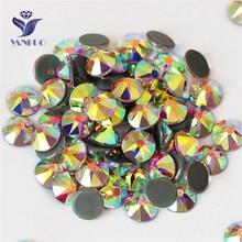 YANRUO 2088HF tüm boyutları AB Flatback demir On düzeltme kristal Strass cam sıcak düzeltme Rhinestones giysi dekorasyon için