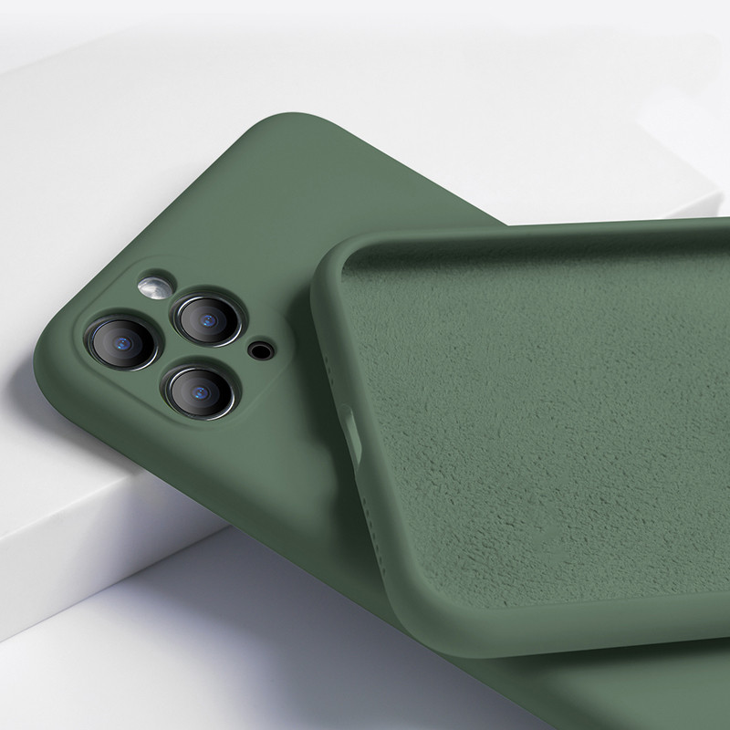 For iPhone 11 Case Liquid Silicone Matte Soft Cover For Apple iPhone 11 Pro Max SE Flexible Shockproof Phone Case Midnight Green