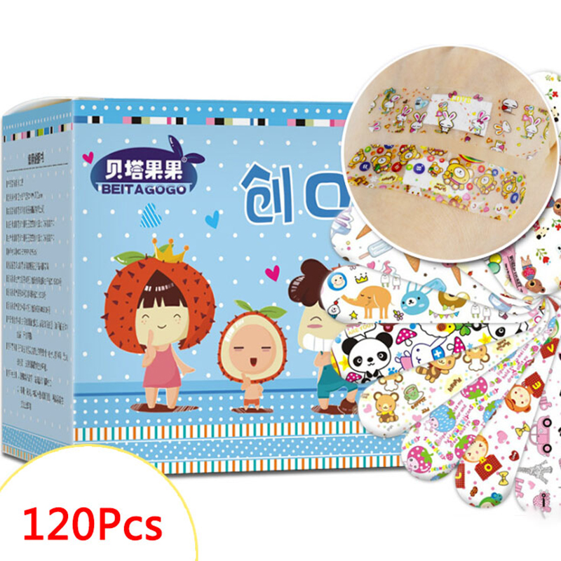 New 120Pcs Cute Cartoon Band Aid Waterproof Breathable Hemostasis Adhesive Bandages First Aid Emergency Kit For Kids Children