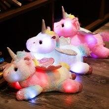 38cm Coloré LED Licorne En Peluche Jouets Lumineux Peluches Rose Unicornio Cheval Jouet Mignon Allument Poupée Enfants Filles Cadeaux De Noël