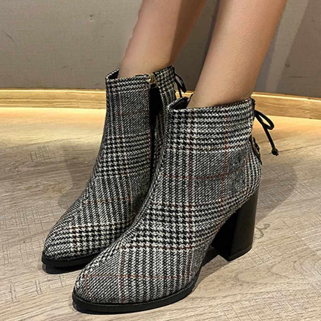 มาร์ตินบู๊ทส์สไตล์อังกฤษลายสก๊อตฤดูหนาวข้อเท้า Elegant Lady ซิปหลัง Cross ผูกรองเท้าส้นสูงรองเท้าข้อเท้ารองเท้าสำหรับสตรี