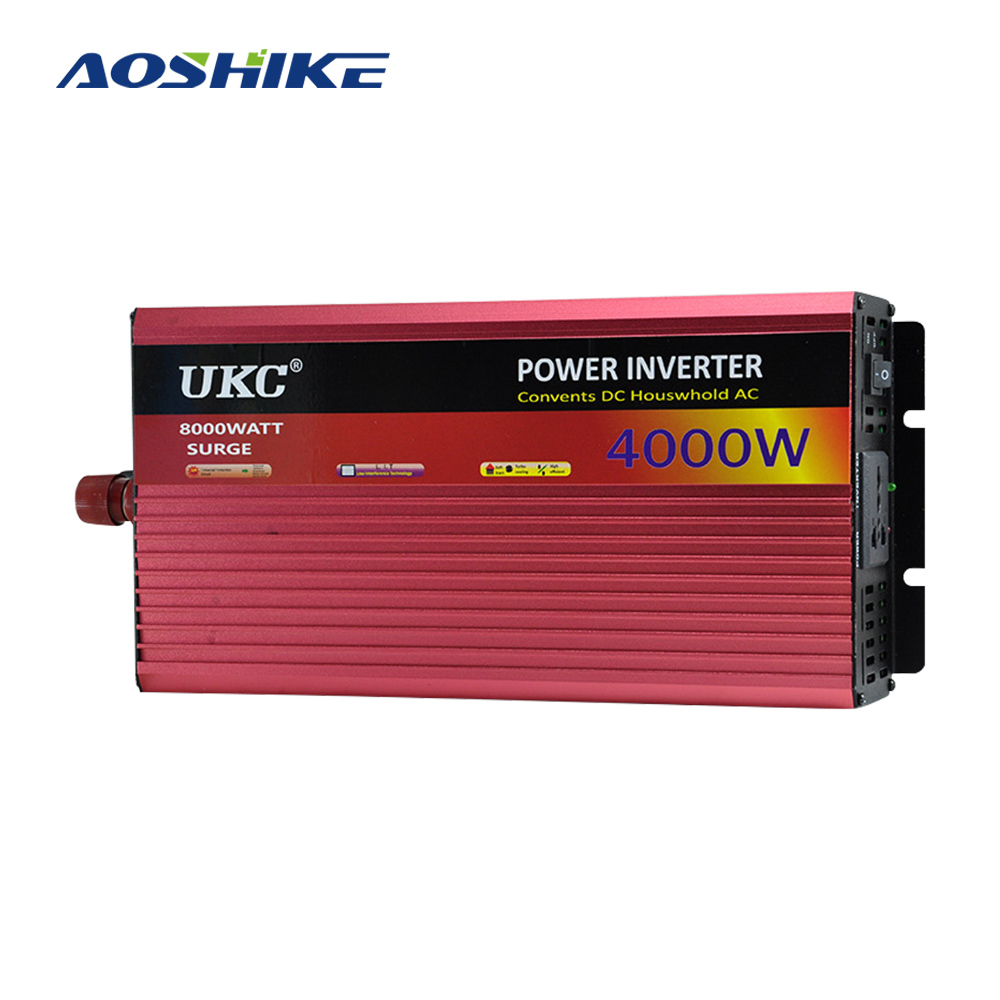 AOSHIKE Household <font><b>Inverter</b></font> 2500W <font><b>3000W</b></font> 4000W Modified Sine Wave Car <font><b>Inverter</b></font> <font><b>12V</b></font> TO 220V Power Converter USB For Pump Cooker image