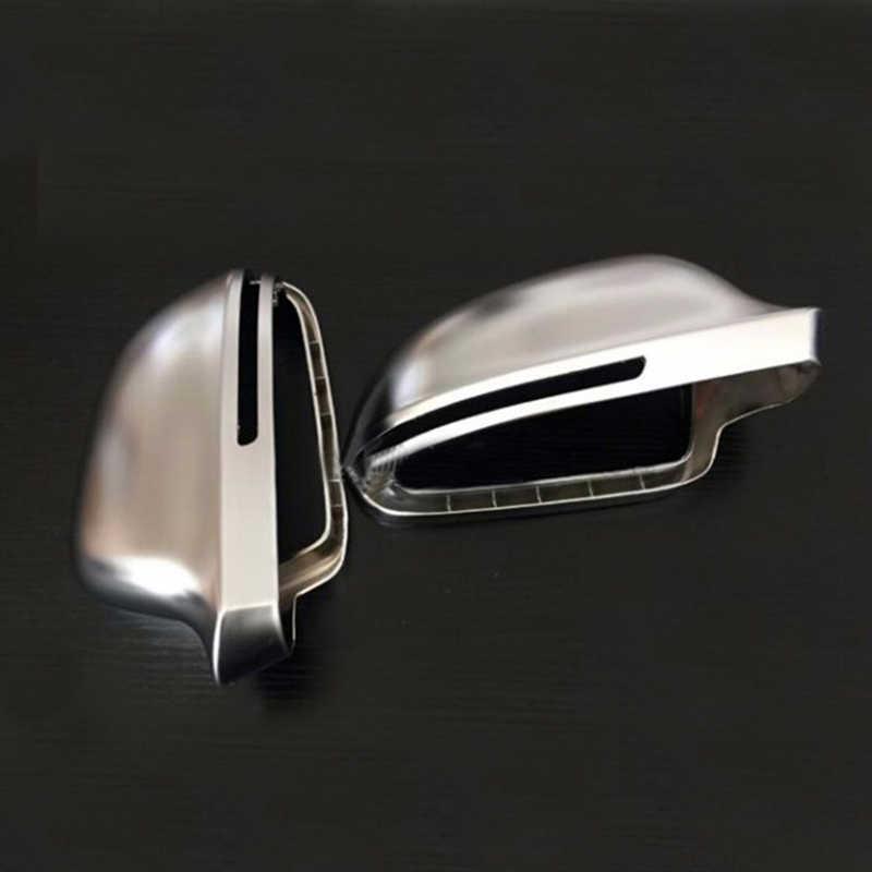 Dla Audi A4 B8 A6 C6 A5 8T Q3 A3 8P matowy chrom lustrzane osłony lusterko wsteczne boczne Cap S linia w zmianie pasa ruchu