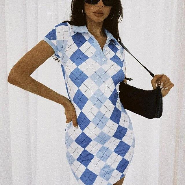 2021 Plaid Print Short Sleeve Summer Dresses Women Argyle Y2K E Girl Clothes Turn Down Collar Vintage Button Mini Dress 5