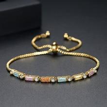 LBJIE Fashion Jewelry Gold Color Plated AAA Cubic Zirconia Bracelet Women Elegant Chain Link Adjustable Bracelets new bracelet for women gold plated color aaa cubic zirconia charm bracelets