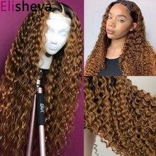Парик кудрявый из человеческих волос Омбре 1B 30, парик блонд на шнуровке спереди, вьющиеся человеческие волосы 13x4, мокрый и волнистый парик н...