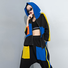 Colour Block Suit Women Two Piece Set Stylish Drawstring Hooded Jacket and Striped Zipper Pockets Harem Pants 2020 Summer Autumn canvas drawstring colour block backpack