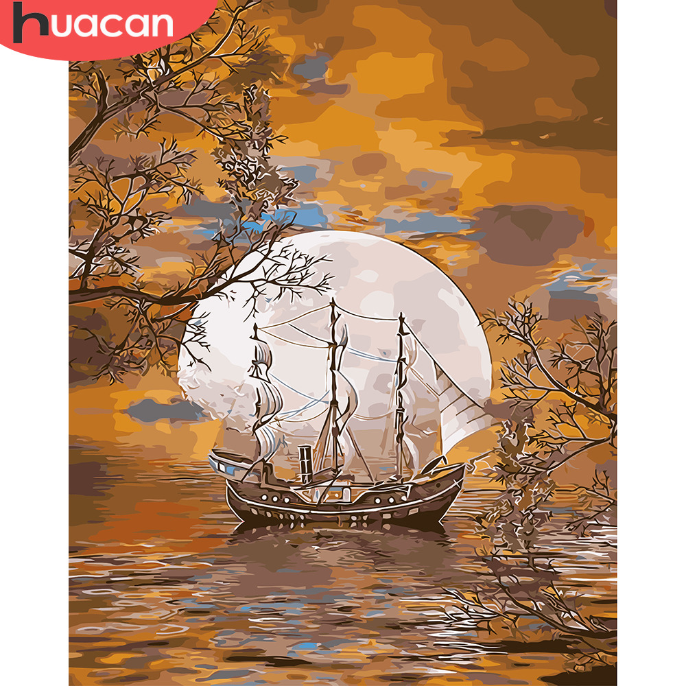 HUACAN Paint By Number Autumn Scenery Kits Drawing Canvas HandPainted DIY Pictures By Number Ship Home Decor Oil Painting