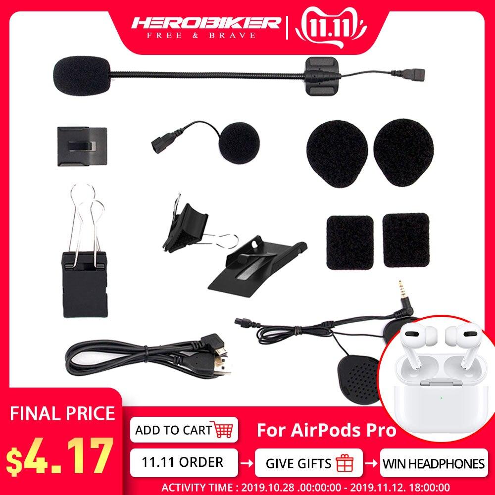 HEROBIKER Motorcycle Helmet Intercom Ear Speaker Motorcycle Headset Microphone Bluetooth Speaker  USB Cable For HERO 2
