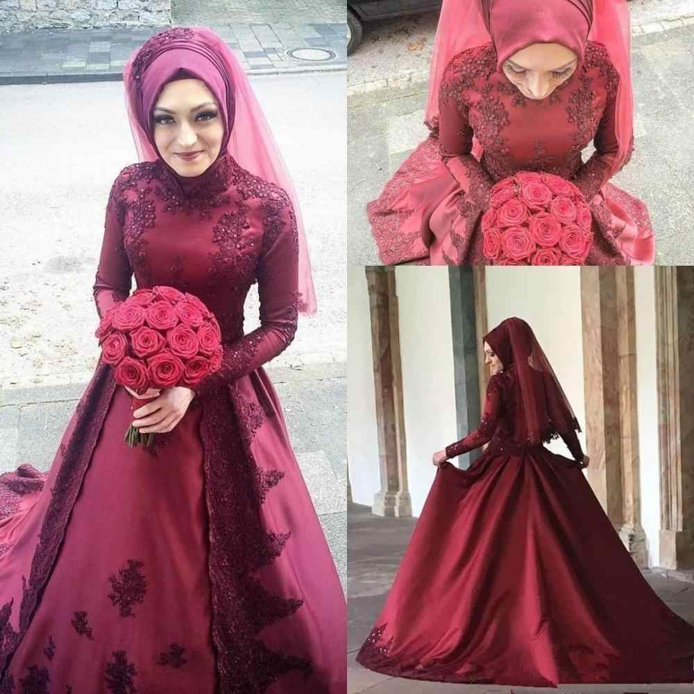 2020 Gorgeous Pakistan Burgundy Muslim Wedding Dresses Long Sleeves High Neck Applique Beading Sweep Train Wedding Bridal Gowns Aliexpress,Wedding Guest Simple Rose Gold Casual Dress