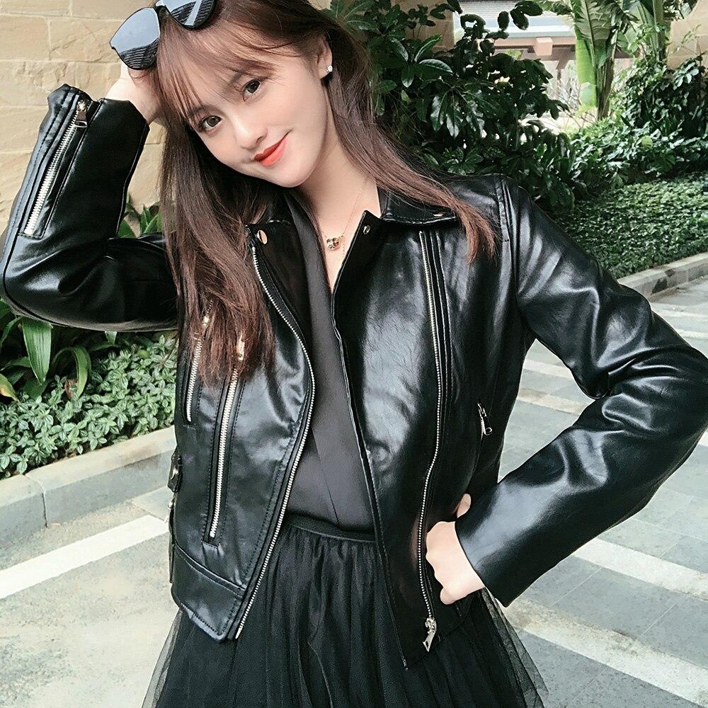 Deep Autumn 2019 New Solid Faux   Leather   Jacket Women Fashion Good Quality Short Women Coat Black Winter Outerwear Coats