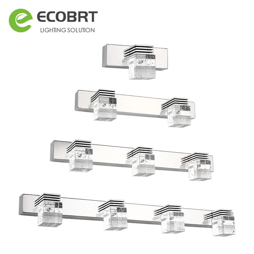 ECOBRT LED Modern Bathroom Mirror Vanity Lighting Fixtures Waterproof Crystal Wall Light Sconce Bedroom Makeup Mirror Lights