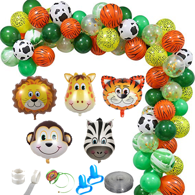"10/"" 10pcs jungle dinosaur balloon latex printed helium kid birthday party dec gp"