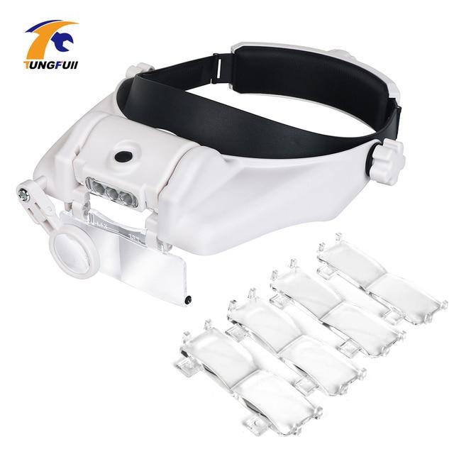 TUNGFULL 안경 루페 시계 제조 업체 수리 도구 안경 돋보기 LED 헤드 밴드 돋보기 1.5x 2x 2.5x 3x 3.5x 8