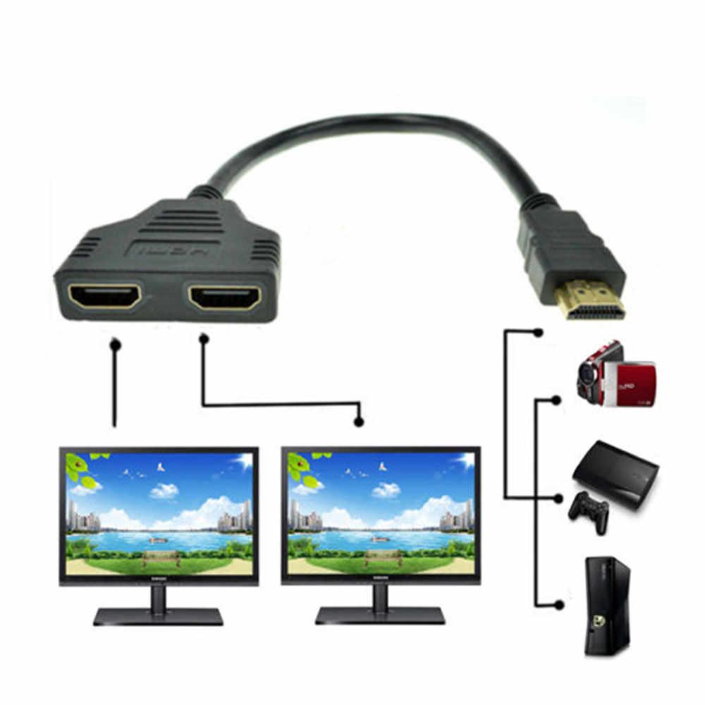 2 żeńskie 1 w 2 FSU HDMI kabel wideo kable pozłacane 1080P 3D kabel do hdtv splitter przejsciówka adapter do kabla Conver