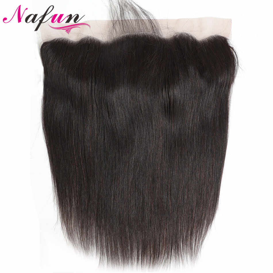 NAFUN Lace Frontal Closure With Baby Hair Human Hair Lace Closure Non Remy Brazilian Straight Hair Weaving Swiss Lace Frontal