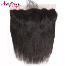 NAFUN Lace Frontal Closure With Baby Hair Human Non Remy Brazilian Straight Weaving Swiss