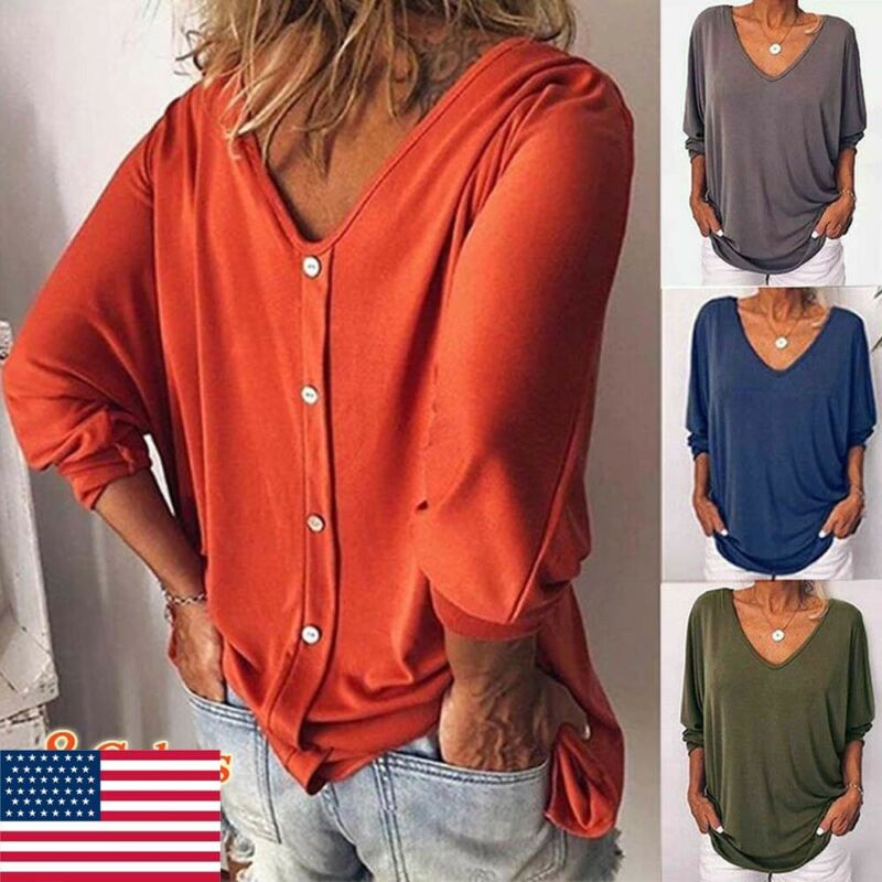 Womens Loose 3/4 Sleeve Back Buttons Shirts Plus Size V Neck Solid Top Blouse
