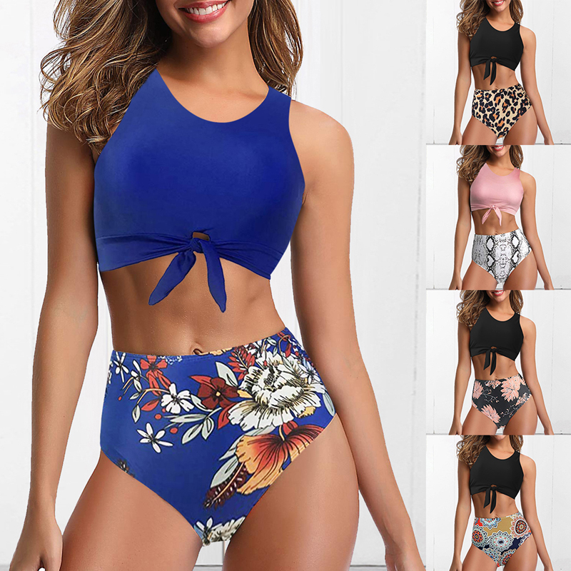 Two-Piece Swimwear Bikini-Set Bathing-Suit Vintage High-Waist Bottom Knot Women Top-Vest title=