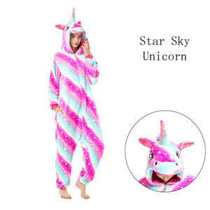 Image 5 - 여성 잠옷 잠옷 성인 플란넬 잠옷 Homewear Kigurumi 유니콘 스티치 팬더 타이거 만화 동물 잠옷 세트 Pijamas