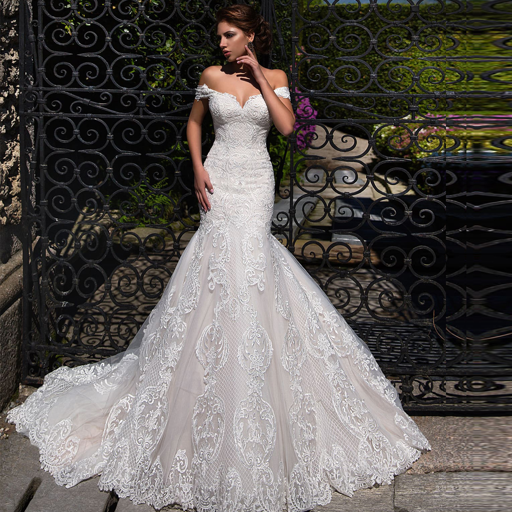 2020 New Arrivals Mermaid Wedding Dress Lace Up Appliqued Tulle Gowns Bride Dress Lace Gowns Off Shoulder Wedding Dresses