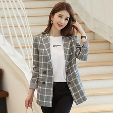 Autumn and winter ladies blazer Korean version of the retro double-breasted plaid suit jacket female Casual office small