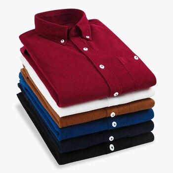 2019 New Men Shirt Long Sleeve Slim Fit Autumn Winter Brand Corduroy Shirt Men Business Shirts 5XL Plus Size Camisa Masculina 1