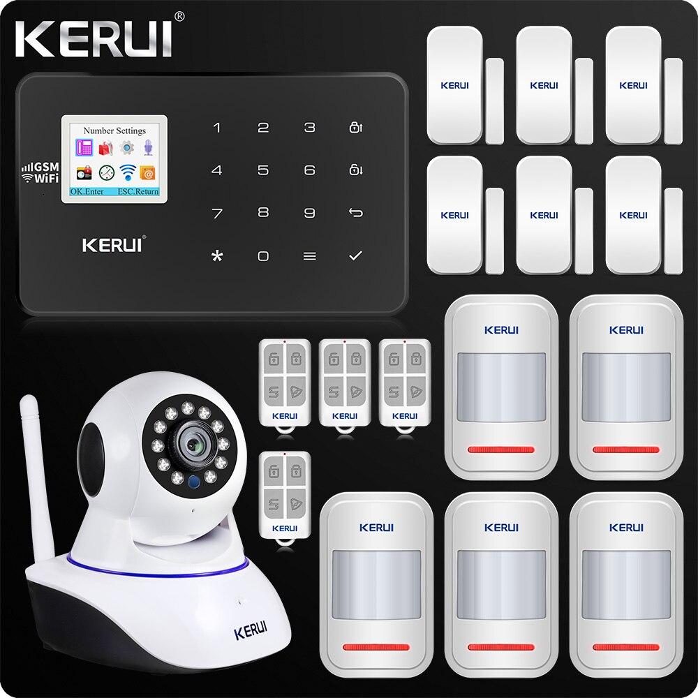 KERUI W18 WIFI GSM SMS système d'alarme antivol à domicile rideau capteur de mouvement Wifi IP caméra d'intérieur