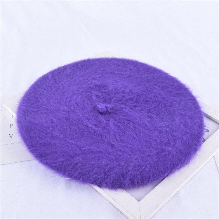1 шт. женская элегантная разноцветная Шапка-берет из меха кролика - Цвет: purple