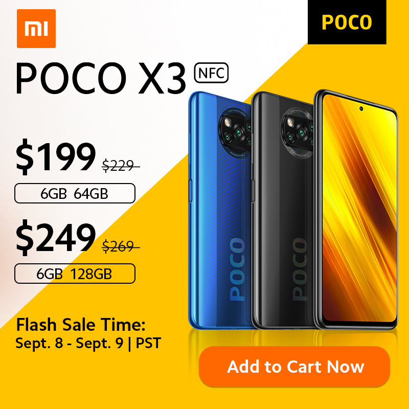 World Premiere Sales In Stock on Sept 8 POCO X3 NFC Global Version Snapdragon 732G