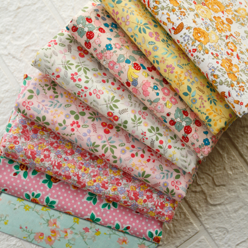 145x50cm Sweet Small Floral Rose Poplin Cotton Sewing Fabric, Making Spring and Summer Dress Clothing Cloth