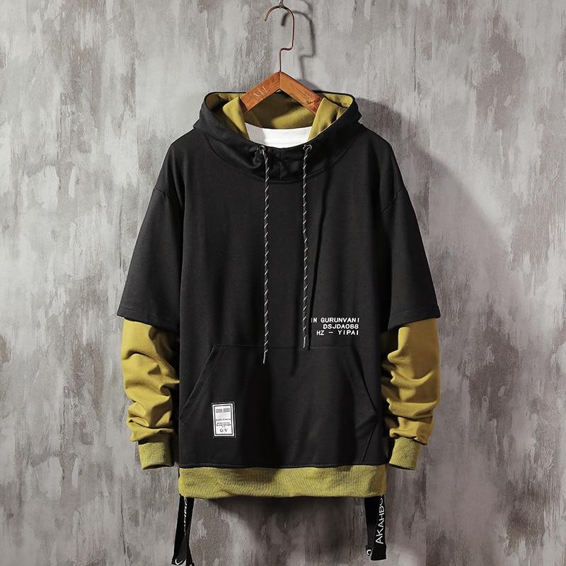 Streetwear Mens Hoodies Sweatshirts Ribbons Casual Hooded Sweatshirt Men 2020 Spring Pullover Hoodies