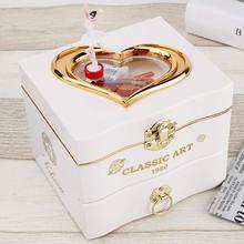Музыкальная шкатулка в форме сердца, Танцующая балерина, пластиковая шкатулка для украшений, карусель, ручная работа, музыкальная шкатулка, механизм, подарок на день Святого Валентина