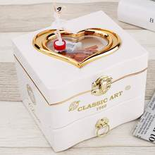 Caja de música con forma de corazón para bailarina, caja para joyas de plástico, carrusel, caja de música con manivela, mecanismo de regalo para el Día de San Valentín