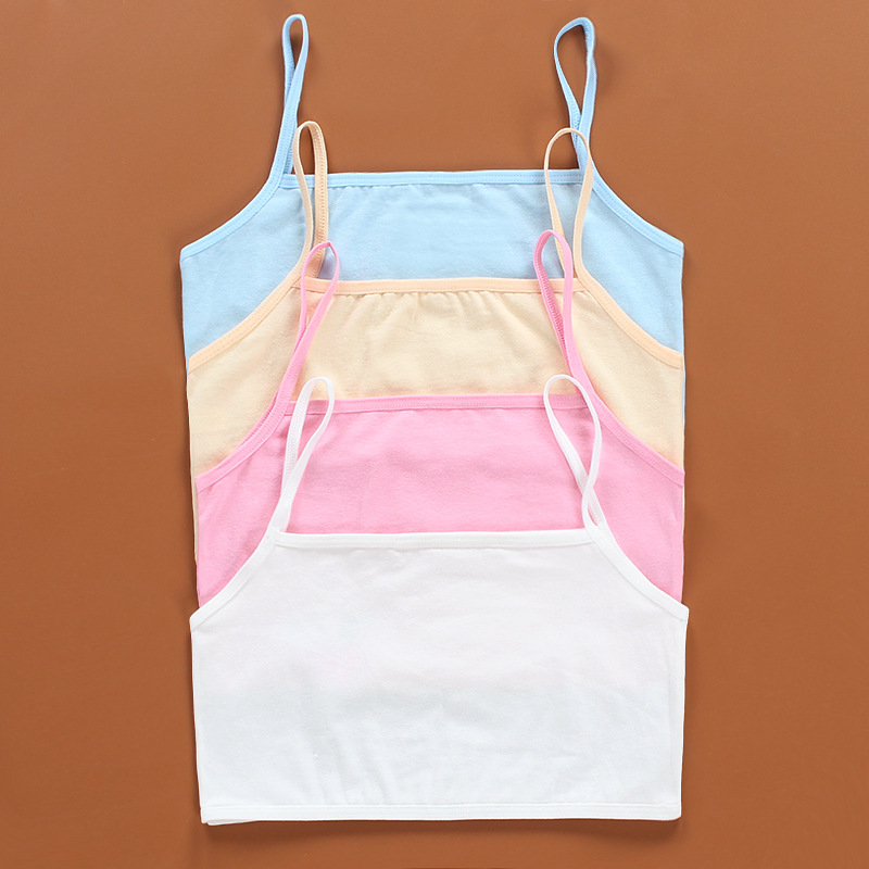 3Pc/lot Kids Underwear 100% Cotton Girls Tank Top Candy Color Undershirt Girls Singlet Baby Camisole Bra Tops Sport
