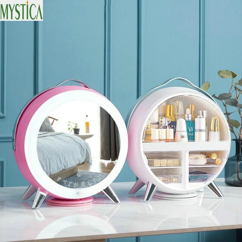 Nordic Cosmetic Storage Box Home Desktop Drawer LED Mirror Makeup Organizer Lipstick Brush Holder Rotation Jewelry Storage Rack