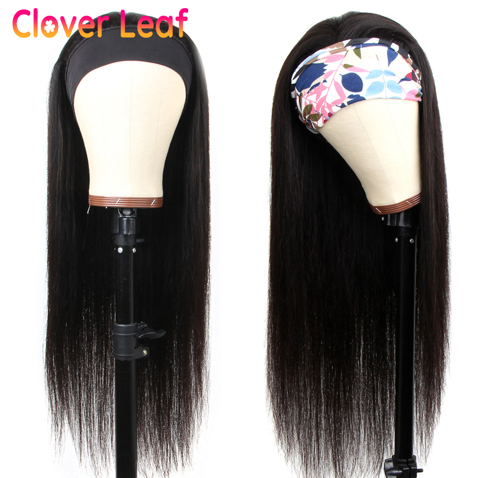 CLover Leaf Straight Headband wig Remy Peruvian 150% Head Band Wigs Human Hair No Glue Headbands Head Scarf Wig For Black Women