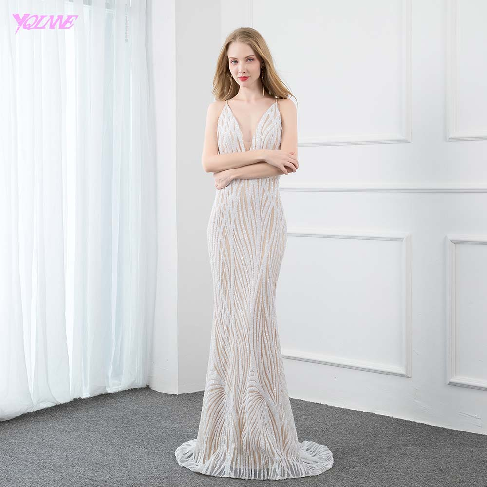 Fashion V Neck Sequined   Evening     Dresses   2019 Long Backless Mermaid   Evening   Gown Backless Real Photos