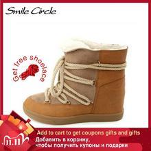 Glimlach Cirkel 2019 Winter Schoenen Voor Vrouwen Lace Up Wedge Laarzen Vrouwen Hoge Hak Lift Schoenen Enkellaarsjes warm Pluche Snowboots