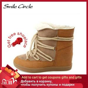 Image 1 - Glimlach Cirkel 2019 Winter Schoenen Voor Vrouwen Lace Up Wedge Laarzen Vrouwen Hoge Hak Lift Schoenen Enkellaarsjes warm Pluche Snowboots