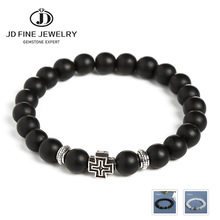 JD Charm Synthetic Stone Bracelet Cross Black Smooth Round Beaded Bracelets Handmade Men Women Prayer Fitness Chain Couple Gift