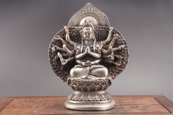 Exquisite Chinese Tibet silver hand carved Guanyin Cupronickel statue of paktong